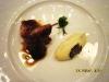 Дикая перепелка фаршированная суфле из фуагра с картофельным кнелем и черным трюфелем