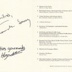 Автограф Франка Савоя на меню ресторана GAY SAVOY Лас Вегас (США). Из личной коллекции