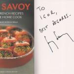 Автограф и пожелание на кулинарной книге от шеф-повара Ги Савоя. Из личной коллекции