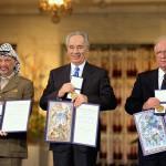 Шимон Перес во время вручения Нобелевской Премии Мира