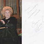 Автограф и пожелание от Елены Васильевны Образцовой. Из личной коллекции.