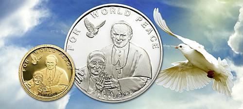 Золотая монета Соломоновых островов, приуроченная к 100-летию рождения Матери Терезы
