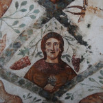 Fragment of a fresco in Qusayr Amra Castle with the image of a mature man