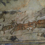 Fragment of a fresco in Qusayr Amra Castle with the image of hunting wild donkeys