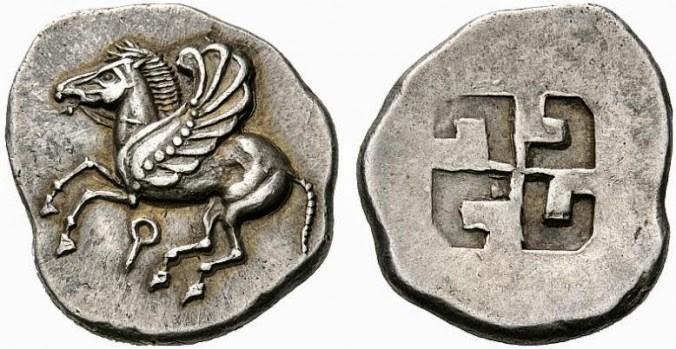 Свастика на греческой серебряной монете из Коринфа, VI в. до н. э.