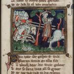 Смерть Авессалома. Миниатюра из манускрипта Якоба ван Марланта, 13 век.