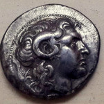 Silver tetradrachm of Lysimachus with the image of Alexander the Great. Obverse. From my private collection.