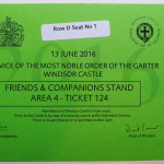 Ticket to the Service of the Most Noble Order of the Garter 2016