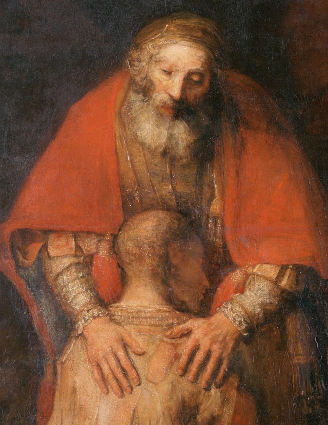 Fragment of the painting by Rembrandt The Return of the Prodigal Son. Hermitage. Saint Petersburg.