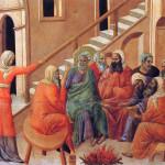 Duccio di Buoninsegna. Maesta. Fragment. Denial of Peter. Fresco.