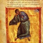 Prophet Habakkuk. Manuscript miniature. Middle of the XIVth century